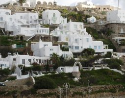 Mykonos, Greece, Houses on stepped terraces