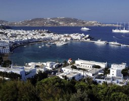 Mykonos, Greece, Harbor panorama