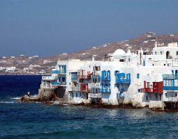 Mykonos, Greece, Durable houses confront the waves