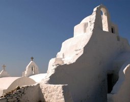 Mykonos, Greece, Church stone carving architecture