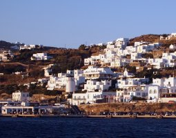 Mykonos, Greece, Houses on hill