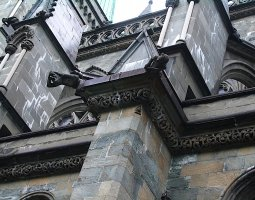 Nidaros Cathedral, Trondheim, Norway, Gargoyles view