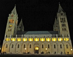 Pannonhalma Archabbey, Hungary, Europe, Night view illuminated