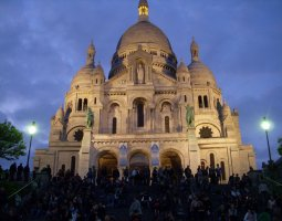 Paris Architecture, France, Sacre Coeur at night
