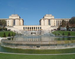 Paris Architecture, France, Palais du Chaillot and Trocadero fountains