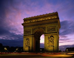 Paris Architecture, France, Arc de Triomphe by night