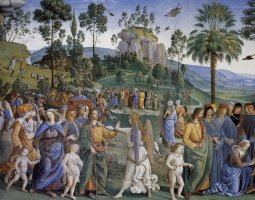 Sistine Chapel, Vatican, Pietro Perugino fresco, Moses leaving to Egypt