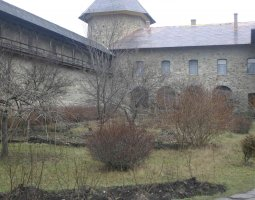 Sucevita Monastery, Romania, Interior gardens near winter