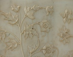 Taj Mahal, India, Flowers relief detail