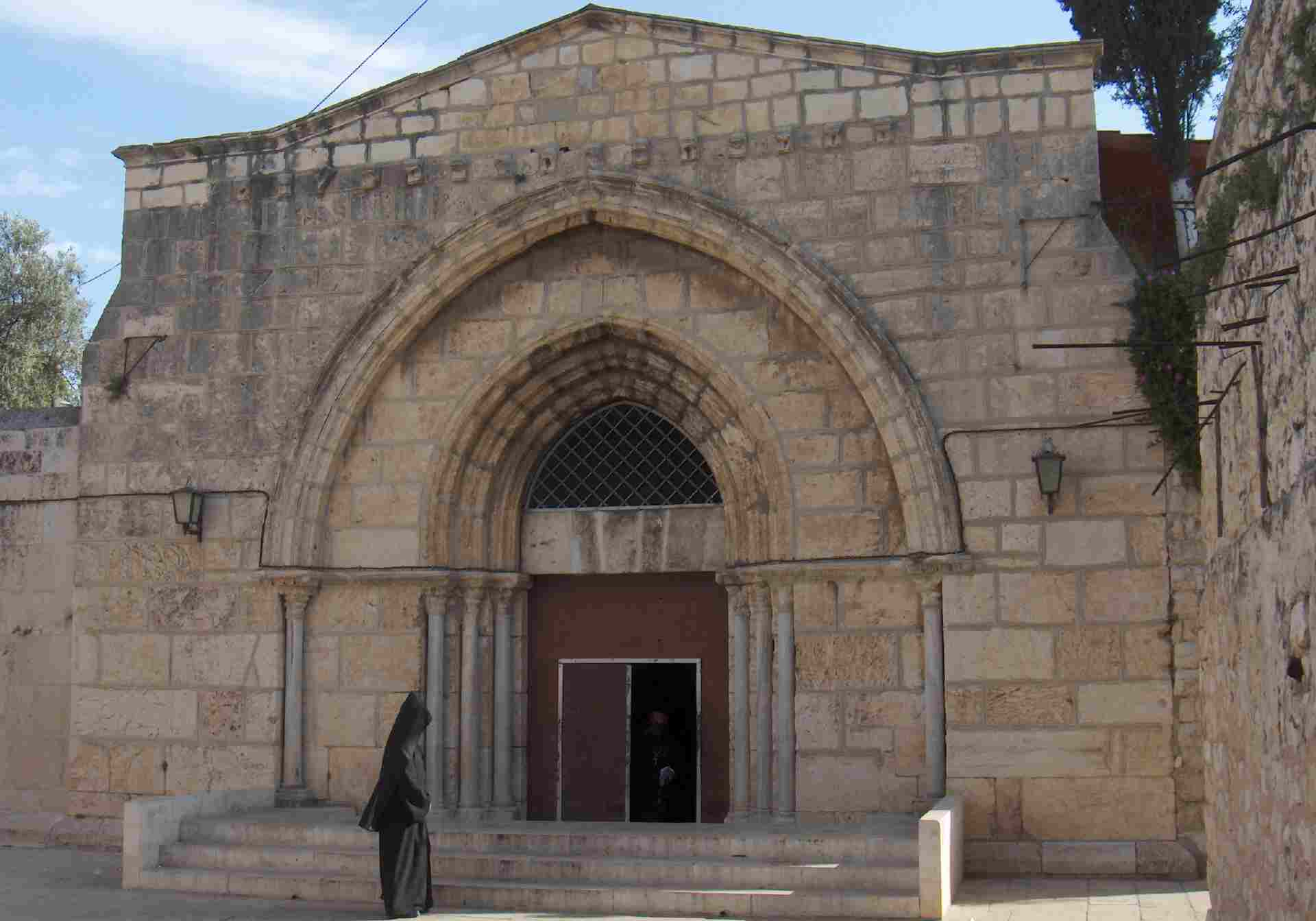 Tomb of the Virgin Mary, Jerusalem, Israel, Armenian priest at entrance