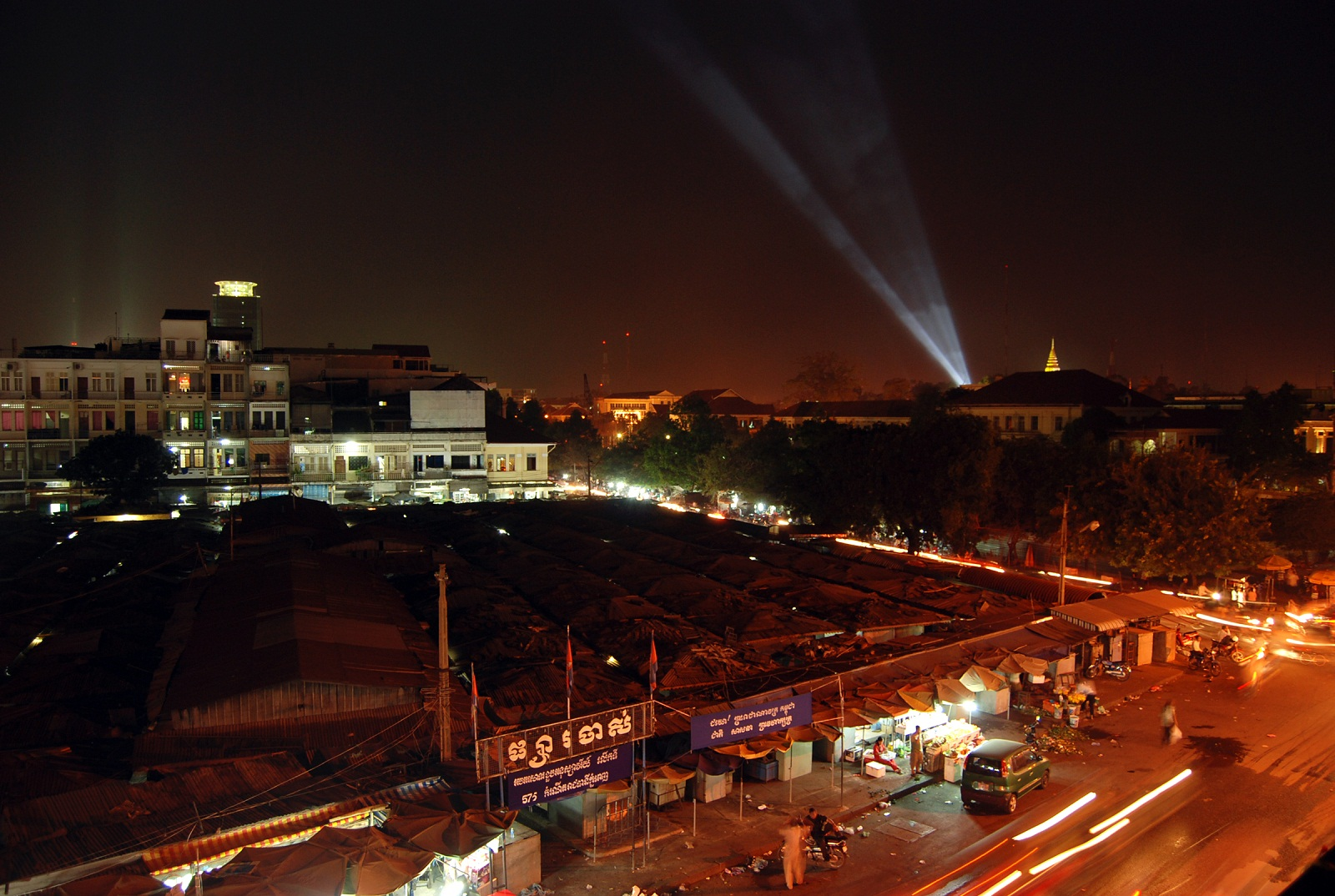 Wat Phnom, Cambodia, Lights in night