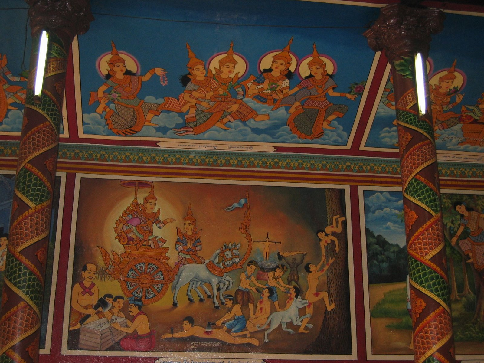 Wat Phnom, Cambodia, Temple paintings