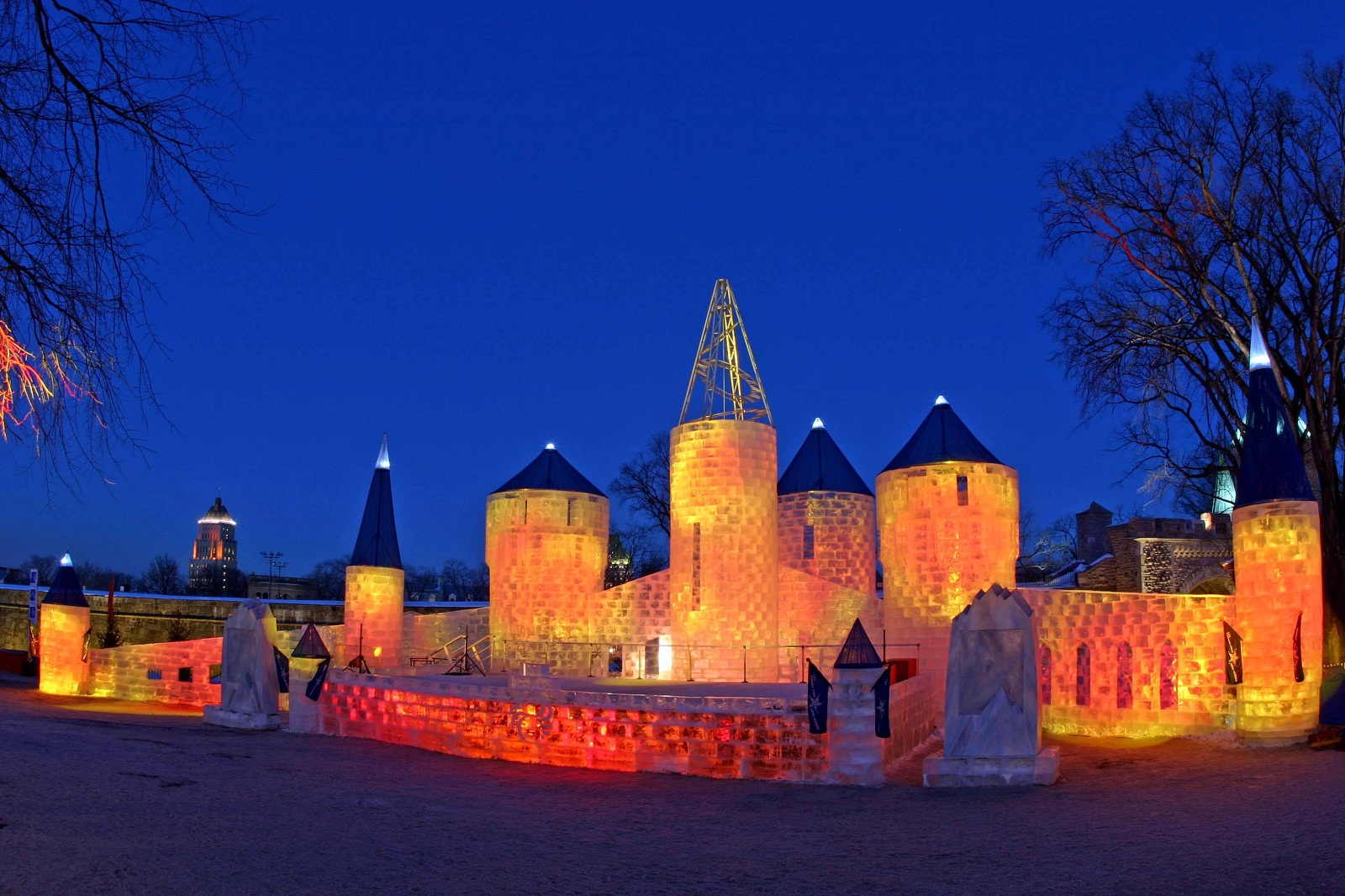Quebec City, Canada, Ice Palace at night on Winter Carnival