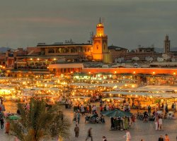 Extended Weekend Holiday, Marrakech, Morocco, Market overview at night