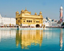 Harmandir Sahib, Golden Temple, Amritsar, Punjab, India, far view