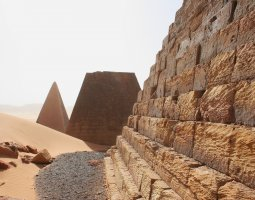 Kerma, Sudan, Meroe pyramids closer steps view