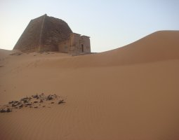 Kerma, Sudan, Natakamani pyramid on top of a dune
