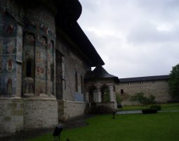 Sucevita Monastery, Romania, Side view with walls behind